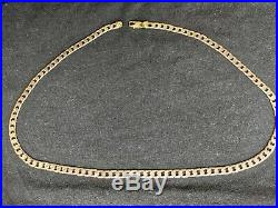 BEAUTIFUL SOLID 375 9CT GOLD FLAT CURB CHAIN NECKLACE 25g 21