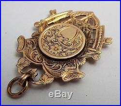 Beautiful V Rare Antique 1906 Solid 9ct Gold Albert Chain Fob Medal With Locket