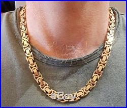 BESPOKE Solid 375 9ct Gold Byzantine Chain Heavy Chunky Mens 147.9G 5oz NT Scrap