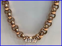 BRITISH BELCHER 9CT ROSE SOLID GOLD Chain Necklace 134GR 26 10MM BRAND NEW