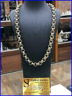 BRITISH BELCHER 9ct YELLOW SOLID GOLD CZ CAST Chain Necklace 24 11MM BRAND NEW