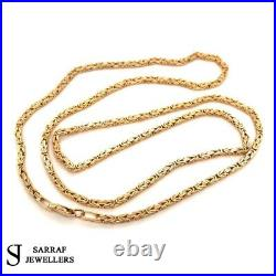 BYZANTINE KING Chain 375 9ct Yellow GOLD Men's Ladies SQUARE NECKLACE 22 2MM