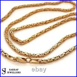 BYZANTINE KING Chain 375 9ct Yellow GOLD Men's Ladies SQUARE NECKLACE 24 2MM