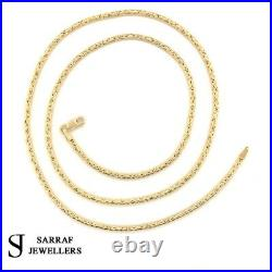 BYZANTINE KING Chain 375 9ct Yellow GOLD Men's ROUND NECKLACE 18-20-22-24 2MM