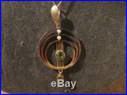Beautiful Edwardian Rare Quality 9ct Gold, Peridot & Pearl Pendant & Chain