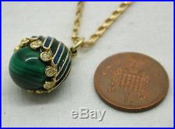 Beautiful Gold Coloured Agate And Enamel Fancy Egg Pendant On 9ct Gold Chain