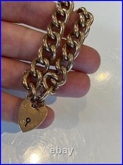 Beautiful Good Chunky Antique 9ct Gold Bracelet Padlock Clasp 18 Grammes