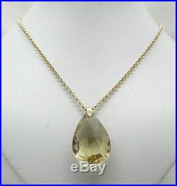 Beautiful Heavy 9ct Gold And Massive Pear Shaped Citrine Pendant And Chain