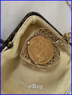 Beautiful Victorian Full Sovereign Heart Shape Pendant Mount & 9ct Gold Chain