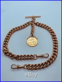 Beautiful Vintage 9ct Gold Double Albert Chain With A Full Sovereign