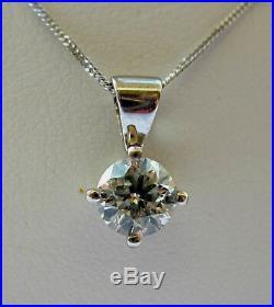 Brand New 1/2ct Diamond Solitaire 9ct White Gold Pendant & Chain £450 Freepost