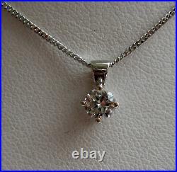 Brand New 1/4CT Diamond Solitaire 9ct White Gold Pendant & Chain £225 Freepost