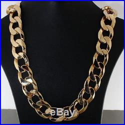 British Hallmarked 9 ct Gold Heavy Bevelled Edge Curb Chain 22.5 RRP £3950 BBT6
