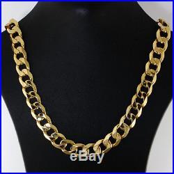 British Hallmarked 9 ct Gold Heavy Bevelled Edge Curb Chain 24 RRP £1875 BBW5
