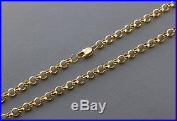 British Hallmarked 9 ct Gold Solid Round Link Belcher Chain 18.5 RRP £650 BDB4