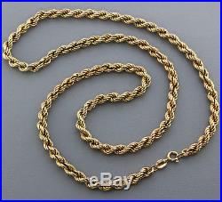 British Hallmarked Vintage 9 ct Gold Heavy Italian Rope Chain 24 RRP £910 BYW3