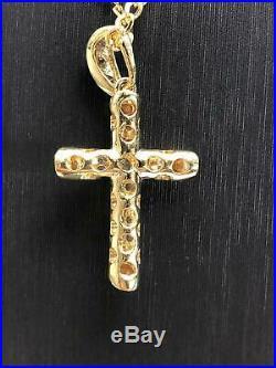 CZ Cross Pendant 375 9CT Yellow Gold Genuine Large 25mm 20mm 3.20gr FREE UK POST
