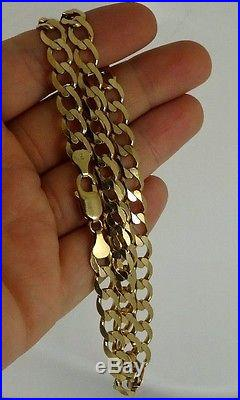 Diamond Cut Solid 9ct Gold CURB Chain 20 26gr Hm Xmas Gift RRP £1300 8mm links