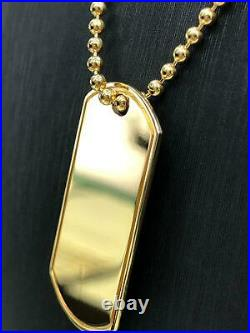 Dog Tag PHOTO ENGRAVING 9 Carat Yellow Gold Hallmarked Single 2MM Ball Chain NEW