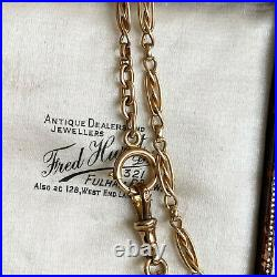 Edwardian 9ct/9k, 375 Gold fancy link chain, solid bolt ring & Dog clip fitting