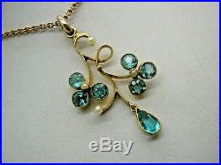 Edwardian 9ct Gold Aquamarine Pearl Lavalier Pendant & Ogl 9ct Gold 17 Chain