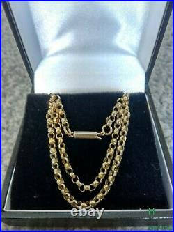 Edwardian 9ct Gold Chain. Barrel Clasp. Lavaliere. Pendant. 4.7 gm. 19 1/2