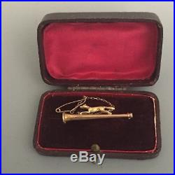 Edwardian 9ct Gold Hunt Brooch Stock Pin Fox & Hunting Horn Safety Chain & Box