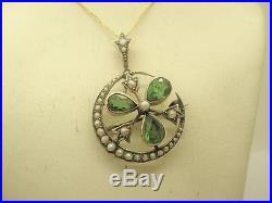 Edwardian 9ct Gold Natural Pearl Shamrock Crescent Moon Brooch Pendant & Chain