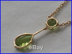 Edwardian Antique 9ct Gold Peridot Ladies Pendant & Chain Necklace