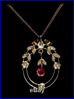 Edwardian pink stone & seed pearl 9 ct gold pendant on gold chain