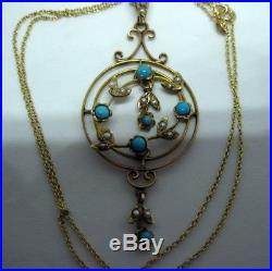 Edwardian turquoise and seed pearl pendant / lavaliere on fine 9ct gold chain