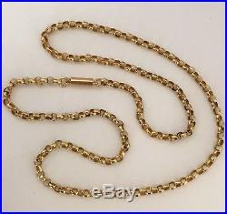 Estate Antique Victorian 9ct Gold Barrel Clasp Necklace Chain 3.9 grams