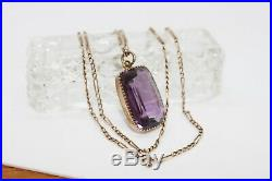 Estate Victorian vintage solid 9ct gold amethyst pendant chain necklace
