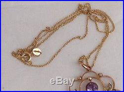 Excellent Edwardian 9Ct Gold Amethyst And Pearl Pendant With 9Ct Chain, C. 1905