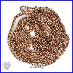 Extra long antique solid 9ct gold muff guard chain necklace 41/2 ft! Victorian