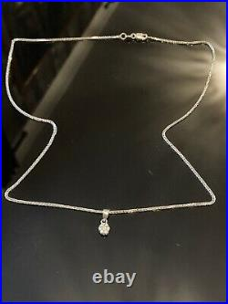 Eyes Catching Solid 9ct White Gold & Real Diamond Pendant 18 Chain Necklace