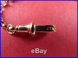 FAB Victorian 9ct GOLD ALBERTINA TASSEL T-BAR DOG CLIP Watch Chain Bracelet 7.7g
