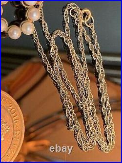 FABULOUS ANTIQUE 9ct GOLD SEED PEARL PENDANT With 9ct Gold Rope Chain Necklace
