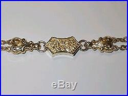 FANCY YELLOW GOLD BRACELET 9ct 375 Albert style double chain T-bar tassel ornate