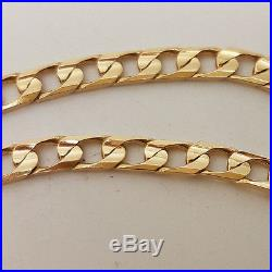Fabulous 9ct Gold 18 Bevelled Curb Link Chain Necklace. Goldmine Jewellers