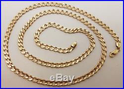 Fabulous 9ct Gold 24 Bevelled Curb Link Chain Necklace. Goldmine Jewellers