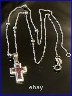 Fabulous 9ct Solid White Gold Station Chain & 14ct Ruby Cross Pendant Necklace