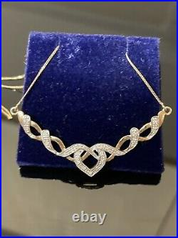 Fabulous 9ct Yellow & White Gold And Diamond Heart Necklace, Chain And Pendant