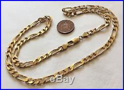 Fabulous Gents High Quality Very Heavy Hallmarked Solid 9ct Gold Figaro Chain