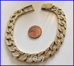 Fabulous Gents Really Heavy Vintage Solid 9ct Gold Bark Effect Bracelet HEAVY