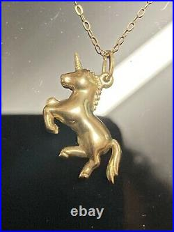 Fabulous Gold 9ct 375 Yellow Gold Unicorn Pendant on 9ct Gold Chain Necklace