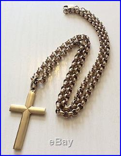 Fabulous Quality Very Heavy Hallmarked Solid 9ct Gold Belcher Chain & 9ct Cross