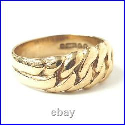 Fancy Band Ring 9ct Yellow Gold 4.5g Curb Chain Design Size P 7.5mm Wide