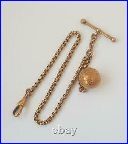 Fancy Victorian 9 ct. Rose Gold Watch Albertina Chain c. 1900 / 8.9 g