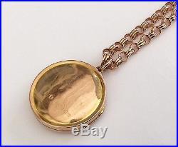 Fantastic Quality Ladies Antique 9ct Gold Circular Locket & Fancy Rose 9ct Chain